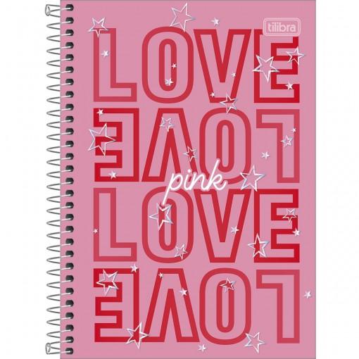 Caderno Espiral Capa Dura 1/4 Love Pink 80 Folhas (Pacote com 4 unidades) - Sortido