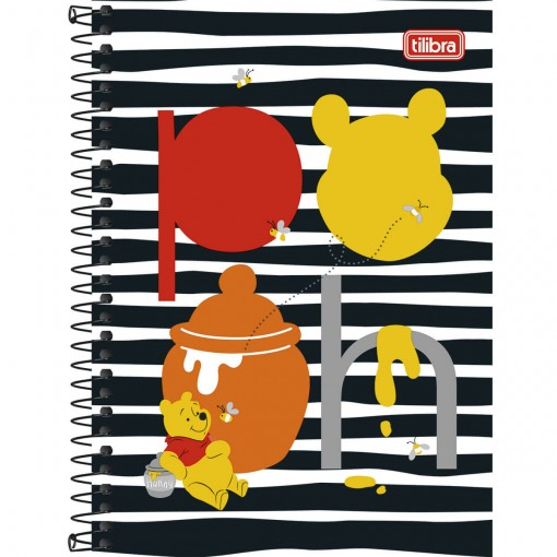 Caderno Espiral Capa Dura 1/4 Pooh 96 Folhas - Sortido (Pacote com 5 unidades)