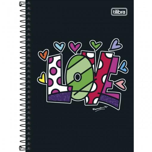 Caderno Espiral Capa Dura 1/4 Romero Britto 96 Folhas (Pacote com 5 unidades) - Sortido