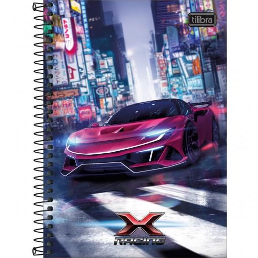 Caderno Espiral Capa Dura 1/4 X-Racing 80 Folhas (Pacote com 4 unidades) - Sortido