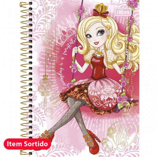 Caderno Espiral Capa Dura 1/4 Ever After High 96 Folhas - Sortido