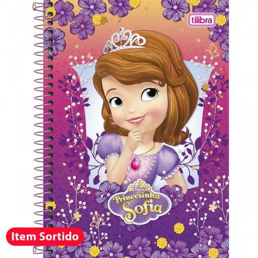 Caderno Espiral Capa Dura 1/4 Princesinha Sofia 96 Folhas - Sortido