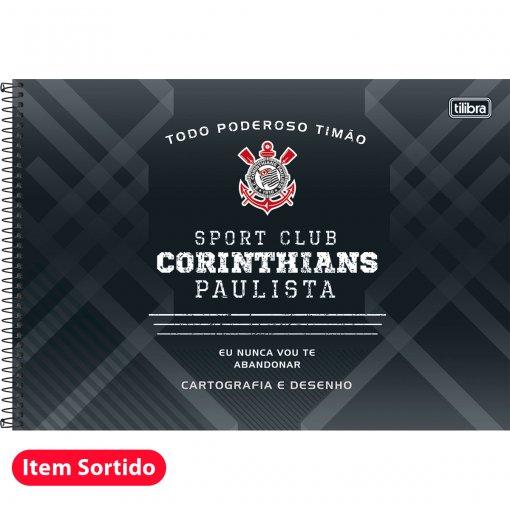 Caderno Espiral Capa Dura Cartografia e Desenho Corinthians 96 Folhas - Sortido