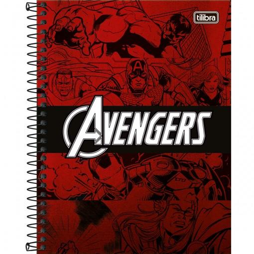 Caderno Espiral Capa Dura Colegial 1 Matéria Avengers Heroes 80 Folhas (Pacote com 4 unidades) - Sortido