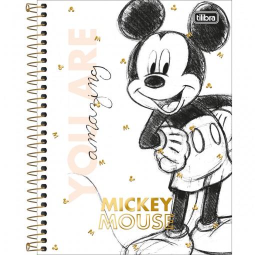 Caderno Espiral Capa Dura Colegial 1 Matéria Mickey 90 anos 80 Folhas (Pacote com 4 unidades) - Sortido