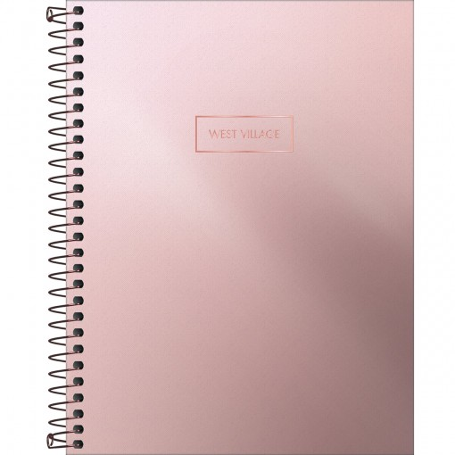 Caderno Espiral Capa Dura Colegial 1 Matéria West Village Metalizado 80 Folhas (Pacote com 4 unidades) - Sortido