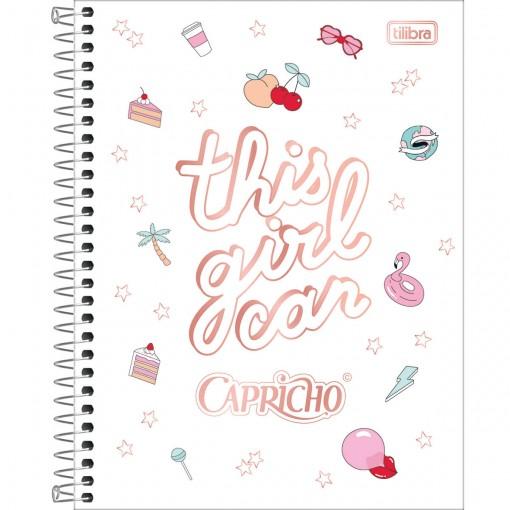 Caderno Espiral Capa Dura Colegial 10 Matérias Capricho 160 Folhas