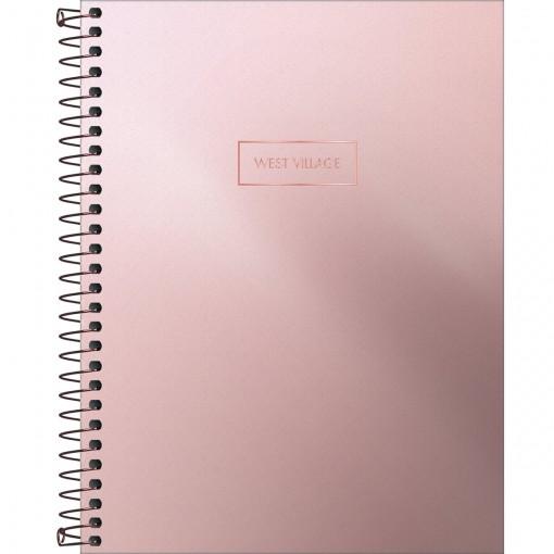 Caderno Espiral Capa Dura Colegial 10 Matérias West Village Metalizado 160 Folhas - Sortido