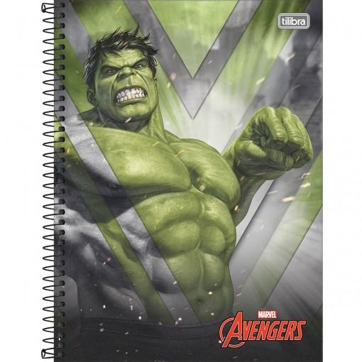 Caderno Espiral Capa Dura Universitário 1 Matéria Avengers 80 Folhas (Pacote com 4 unidades) - Sortido