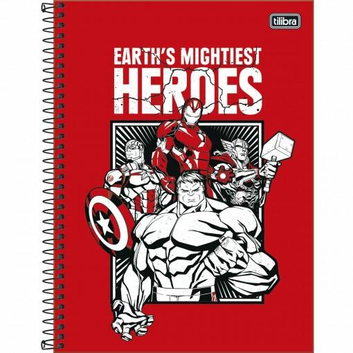 Caderno Espiral Capa Dura Universitário 1 Matéria Avengers Light 80 Folhas (Pacote com 4 unidades) - Sortido