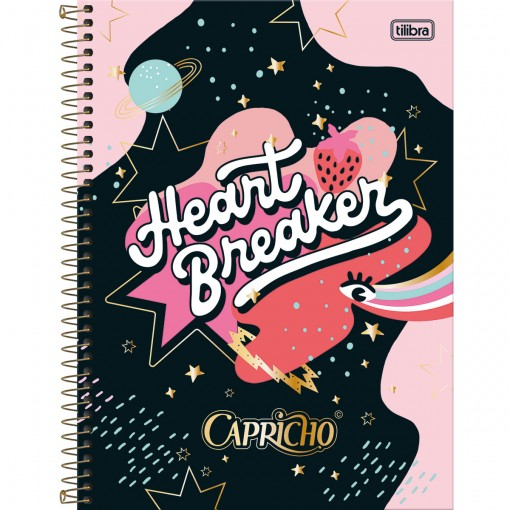 Caderno Espiral Capa Dura Universitário 1 Matéria Capricho 80 Folhas - Heart Breaker - Sortido