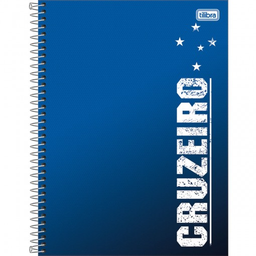 Caderno Espiral Capa Dura Universitário 1 Matéria Clube de Futebol Cruzeiro 80 Folhas (Pacote com 4 unidades) - Sortido