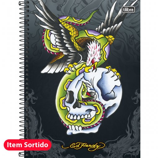 Caderno Espiral Capa Dura Universitário 1 Matéria Ed Hardy 96 Folhas - Sortido