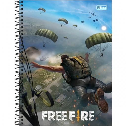 Caderno Espiral Capa Dura Universitário 1 Matéria Free Fire 80 Folhas - Paraquedas - Sortido