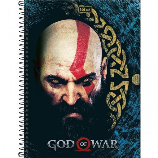 Caderno Espiral Capa Dura Universitário 1 Matéria God of War 80 Folhas (Pacote com 4 unidades) - Sortido