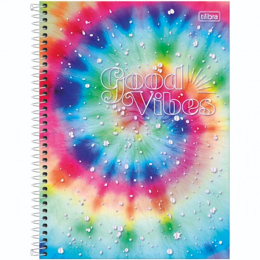 Caderno Espiral Capa Dura Universitário 1 Matéria Good Vibes 80 Folhas - Espiral Arco-íris - Sortido