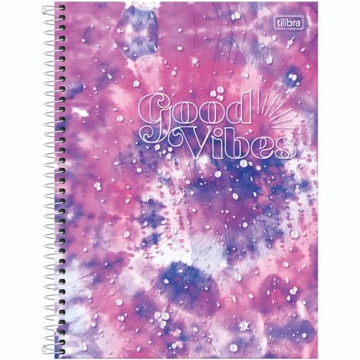 Caderno Espiral Capa Dura Universitário 1 Matéria Good Vibes 80 Folhas - Espiral Pink e Roxo - Sortido