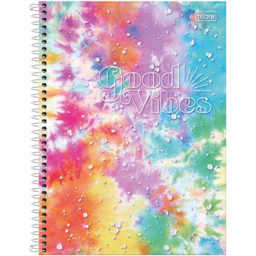 Caderno Espiral Capa Dura Universitário 1 Matéria Good Vibes 80 Folhas - Manchas Arco-íris - Sortido