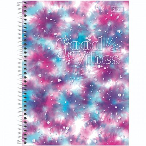Caderno Espiral Capa Dura Universitário 1 Matéria Good Vibes 80 Folhas - Manchas Pink e Azul - Sortido