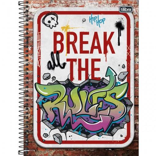 Caderno Espiral Capa Dura Universitário 1 Matéria Graffiti 80 Folhas (Pacote com 4 unidades) - Sortido