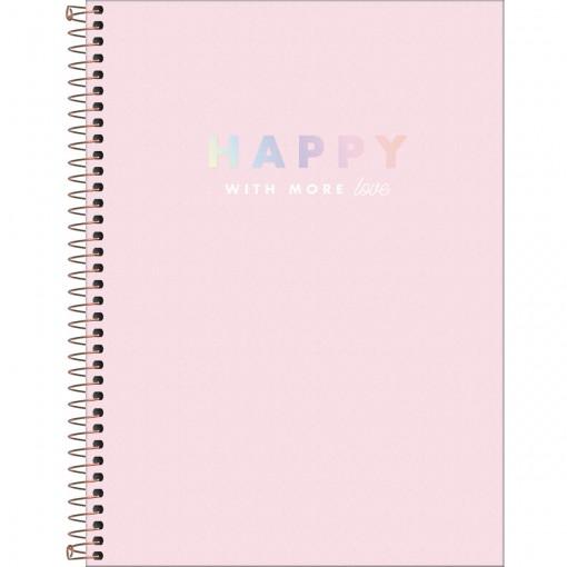 Caderno Espiral Capa Dura Universitário 1 Matéria Happy 80 Folhas - Rosa - Sortido