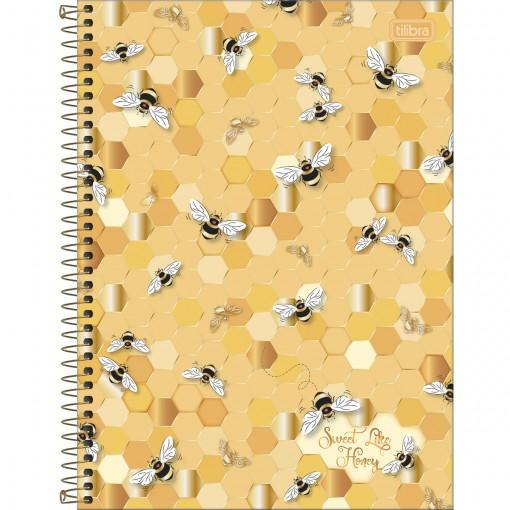 Caderno Espiral Capa Dura Universitário 1 Matéria Honey Bee 80 Folhas - Sortido