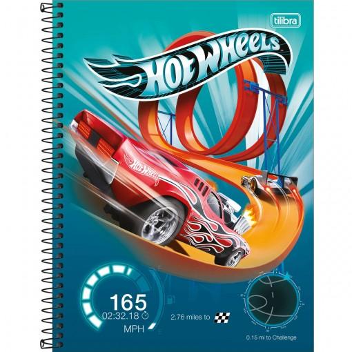 Caderno Espiral Capa Dura Universitário 1 Matéria Hot Wheels 80 Folhas (Pacote com 4 unidades) - Sortido