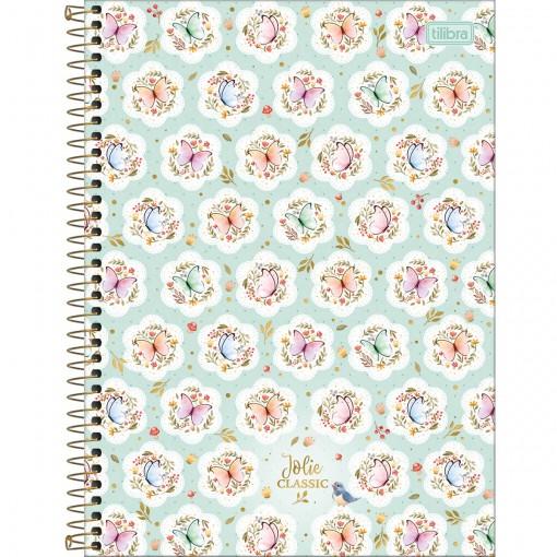 Caderno Espiral Capa Dura Universitário 1 Matéria Jolie Classic 80 Folhas (Pacote com 4 unidades) - Sortido