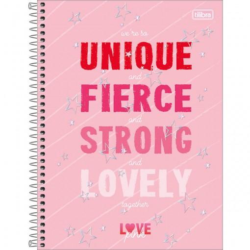 Caderno Espiral Capa Dura Universitário 1 Matéria Love Pink 80 Folhas - Unique - Sortido