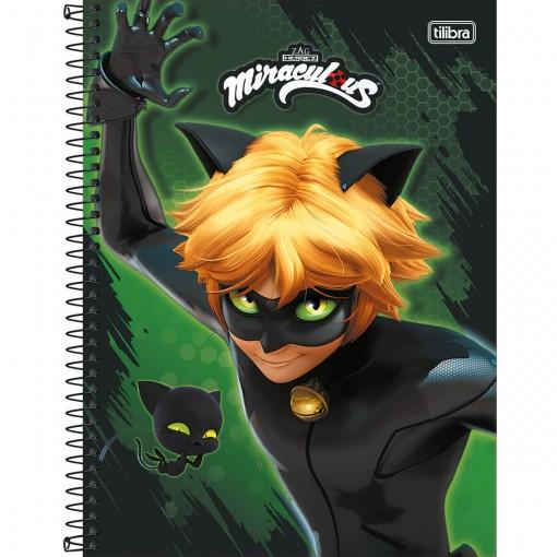 Caderno Espiral Capa Dura Universitário 1 Matéria Miraculous: Cat Noir 80 Folhas (Pacote com 4 unidades) - Sortido