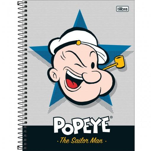 Caderno Espiral Capa Dura Universitário 1 Matéria Popeye 80 Folhas (Pacote com 4 unidades) - Sortido
