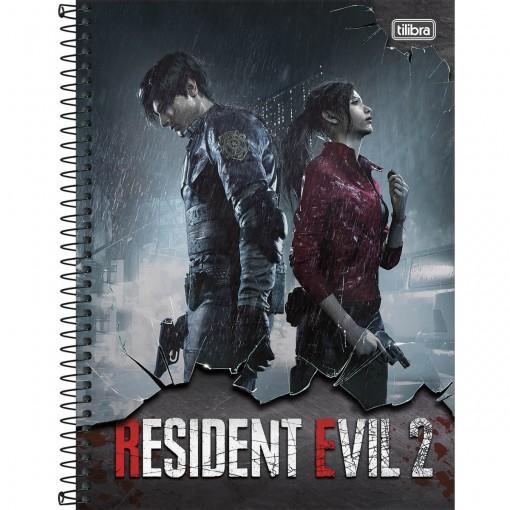 Caderno Espiral Capa Dura Universitário 1 Matéria Resident Evil 80 Folhas (Pacote com 4 unidades) - Sortido