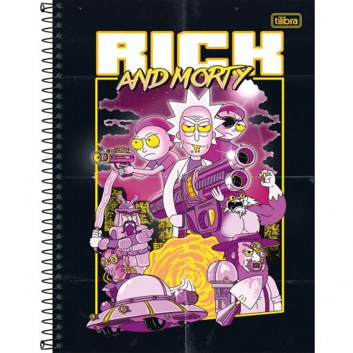Caderno Espiral Capa Dura Universitário 1 Matéria Rick and Morty 80 Folhas (Pacote com 4 unidades) - Sortido