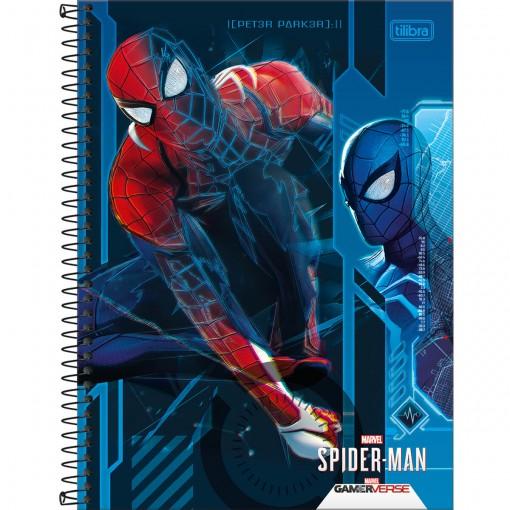 Caderno Espiral Capa Dura Universitário 1 Matéria Spider-Man Game 80 Folhas - Spider-Man Fundo Azul - Sortido