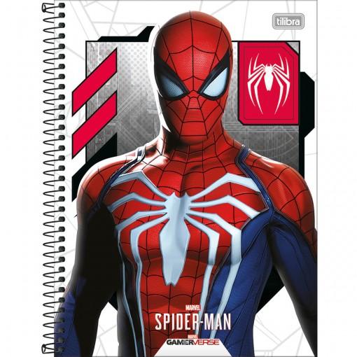 Caderno Espiral Capa Dura Universitário 1 Matéria Spider-Man Game 80 Folhas - Spider-Man Fundo Branco - Sortido