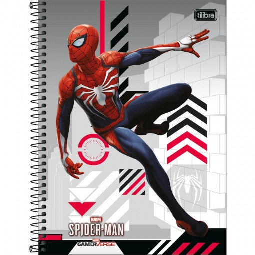 Caderno Espiral Capa Dura Universitário 1 Matéria Spider-Man Game 80 Folhas - Spider-Man na Parede Cinza - Sortido