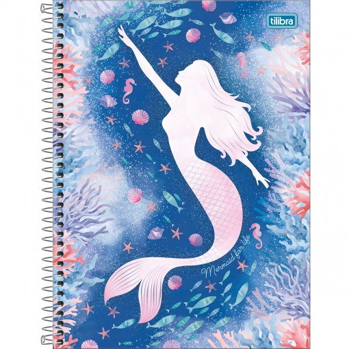 Caderno Espiral Capa Dura Universitário 1 Matéria Wonder 80 Folhas - Mermaid for Life - Sortido