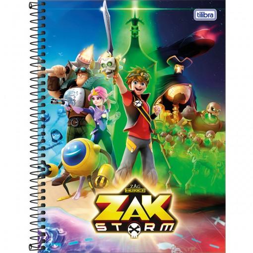 Caderno Espiral Capa Dura Universitário 1 Matéria Zak Storm 80 Folhas (Pacote com 4 unidades) - Sortido
