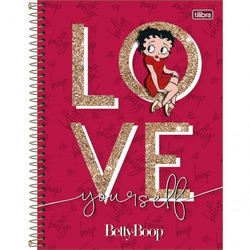 Caderno Espiral Capa Dura Universitário 10 Matérias Betty Boop 160 Folhas (Pacote com 4 unidades) - Sortido