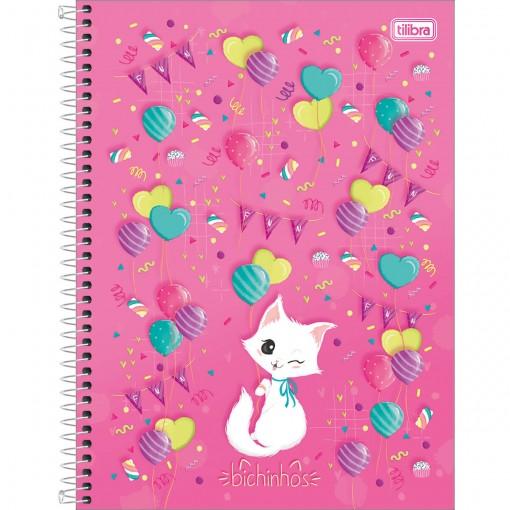Caderno Espiral Capa Dura Universitário 10 Matérias Bichinhos 160 Folhas (Pacote com 4 unidades) - Sortido