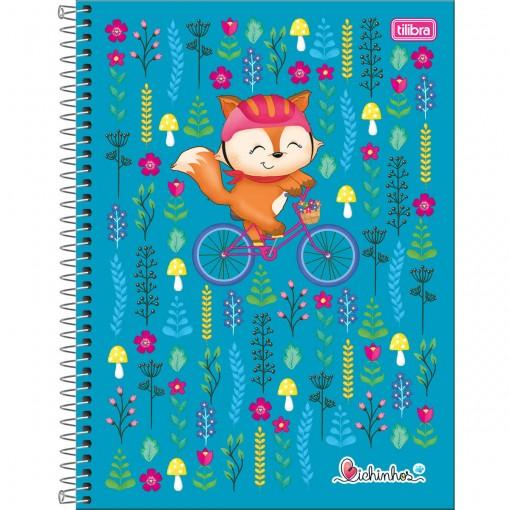Caderno Espiral Capa Dura Universitário 10 Matérias Bichinhos 200 Folhas (Pacote com 4 unidades) - Sortido