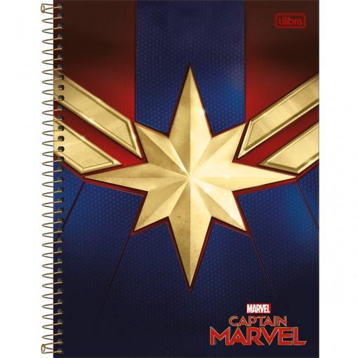 Caderno Espiral Capa Dura Universitário 10 Matérias Capitã Marvel 160 Folhas (Pacote com 4 unidades) - Sortido