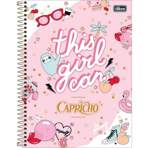 Caderno Espiral Capa Dura Universitário 10 Matérias Capricho 160 Folhas - Sortido