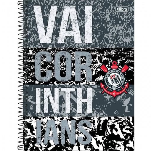 Caderno Espiral Capa Dura Universitário 10 Matérias Clube de Futebol Corinthians 160 Folhas (Pacote com 4 unidades) - Sortido