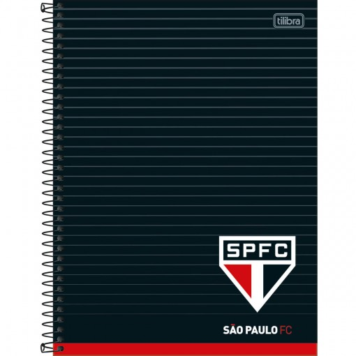 Caderno Espiral Capa Dura Universitário 10 Matérias Clube de Futebol São Paulo 160 Folhas (Pacote com 4 unidades) - Sortido