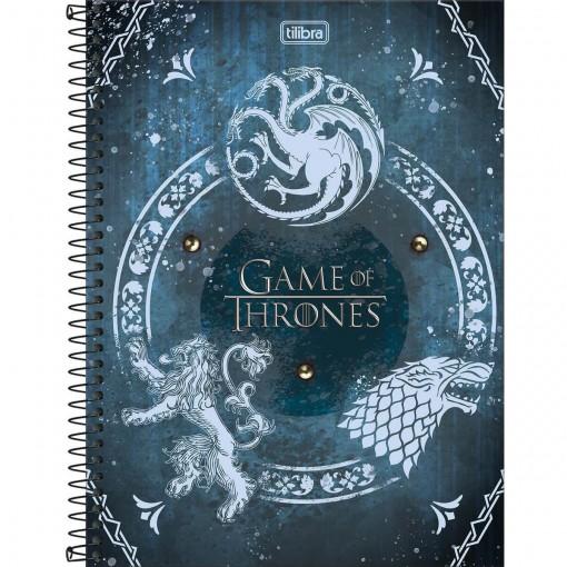 Caderno Espiral Capa Dura Universitário 10 Matérias Game of Thrones 160 Folhas (Pacote com 4 unidades) - Sortido