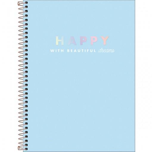 Caderno Espiral Capa Dura Universitário 10 Matérias Happy 160 Folhas - Azul - Sortido