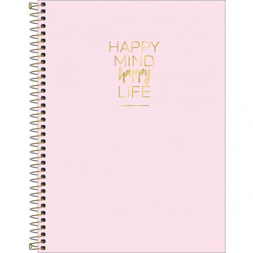 Caderno Espiral Capa Dura Universitário 10 Matérias Happy 160 Folhas - Sortido