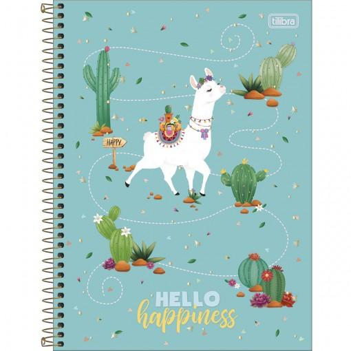 Caderno Espiral Capa Dura Universitário 10 Matérias Hello! 160 Folhas - Sortido