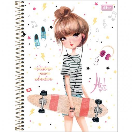 Caderno Espiral Capa Dura Universitário 10 Matérias Hi! Girls 160 Folhas (Pacote com 4 unidades) - Sortido